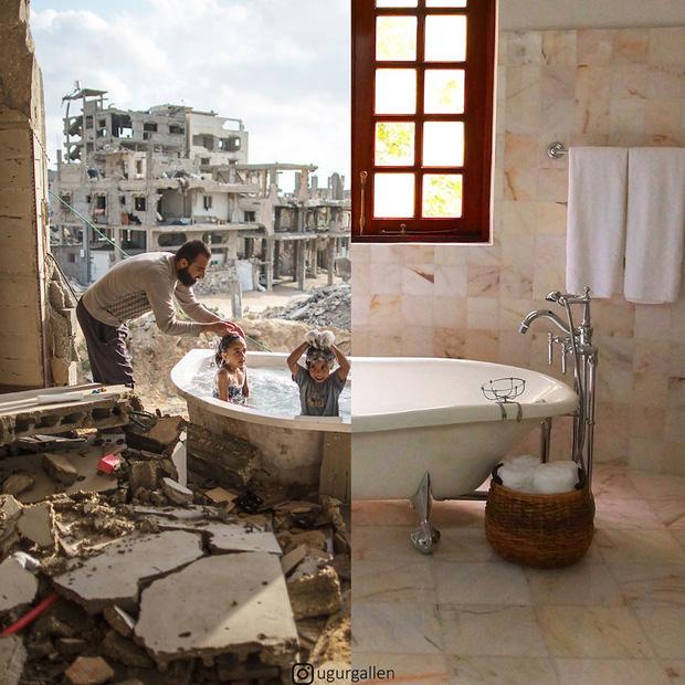 Hai thế giới: Bộ ảnh khiến người xem phải rơi nước mắt cho những đứa trẻ sống giữa đạn bom, bình yên là điều vô cùng xa xỉ - Ảnh 1.