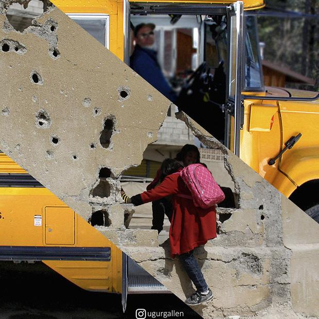 Hai thế giới: Bộ ảnh khiến người xem phải rơi nước mắt cho những đứa trẻ sống giữa đạn bom, bình yên là điều vô cùng xa xỉ - Ảnh 2.