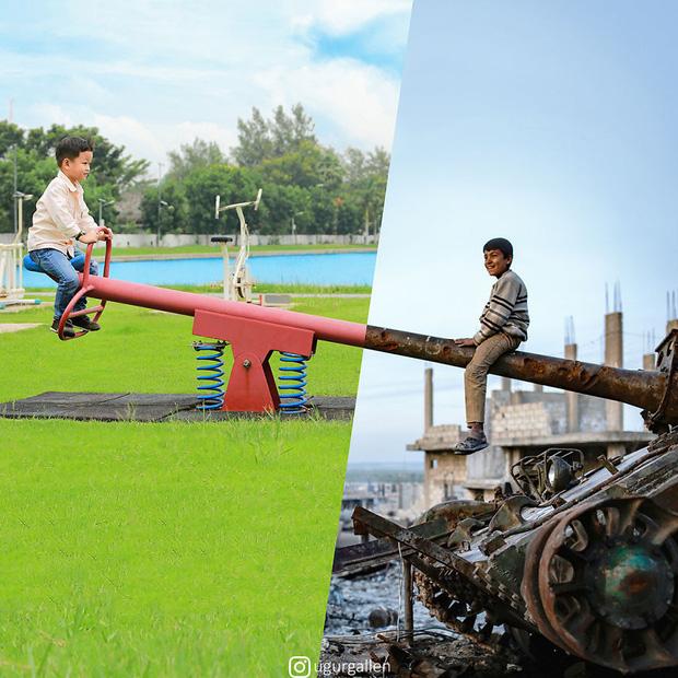 Hai thế giới: Bộ ảnh khiến người xem phải rơi nước mắt cho những đứa trẻ sống giữa đạn bom, bình yên là điều vô cùng xa xỉ - Ảnh 4.