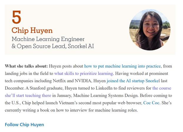 """Huyền Chip, cô gái từng bị """"ném đá"""" năm nào giờ đã lọt Top 5 người có tiếng nói nhất trên LinkedIn mảng AI, chuẩn bị làm giảng viên Stanford! - Ảnh 1."""