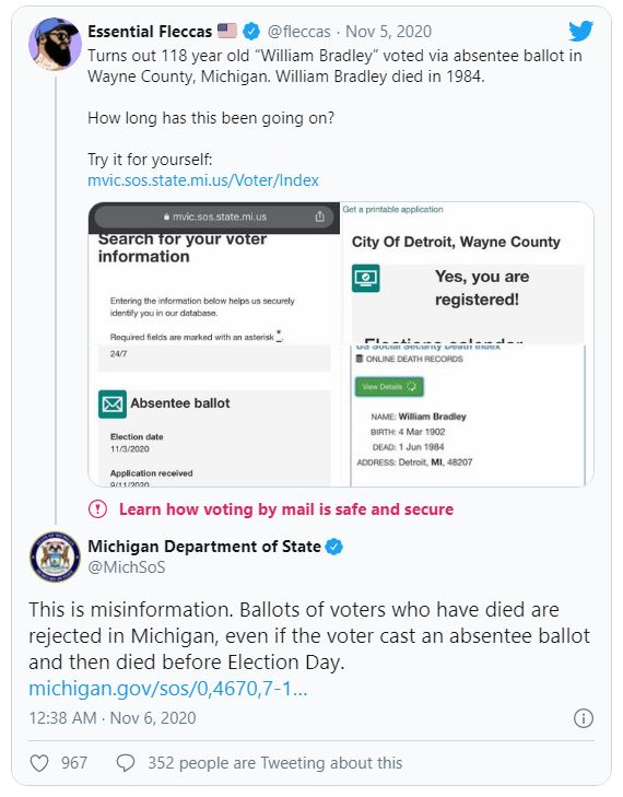 Bầu cử Mỹ: Sự thật về cử tri đội mồ sống dậy để bỏ phiếu ở bang chuyển xanh vì ông Biden? - Ảnh 1.