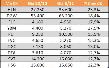 10 cổ phiếu tăng/giảm mạnh nhất tuần: HTN và DGW bứt phá - Ảnh 1.