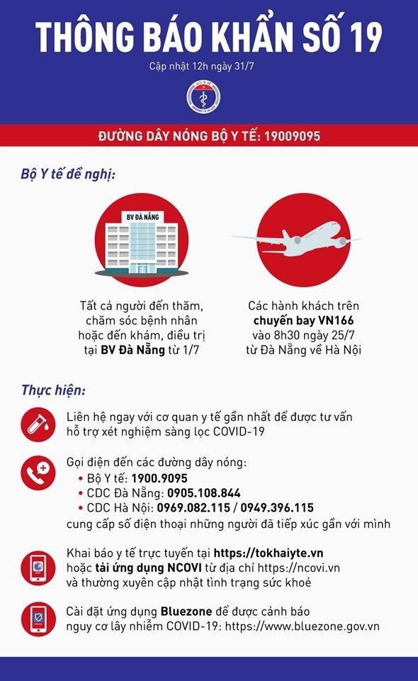 THÔNG BÁO KHẨN: Bộ Y tế tìm người trên chuyến bay Đà Nẵng - Hà Nội sáng 25/7 - Ảnh 1.