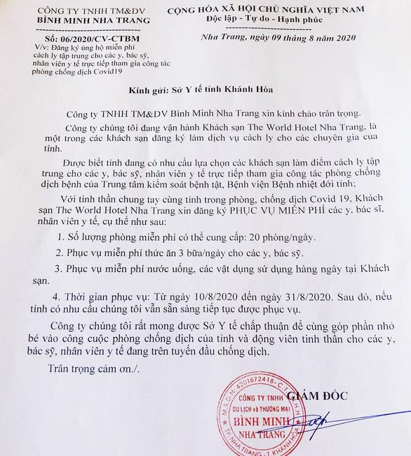 """Khách sạn The World Hotel Nha Trang """"xin"""" được phục vụ chỗ ăn, ở miễn phí cho bác sỹ tham gia chống Covid-19 - Ảnh 1."""