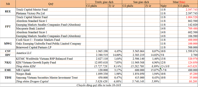 Chuyển động quỹ đầu tư tuần 10-16/8: Thỏa thuận lớn tại REE, FPT và MWG - Ảnh 1.