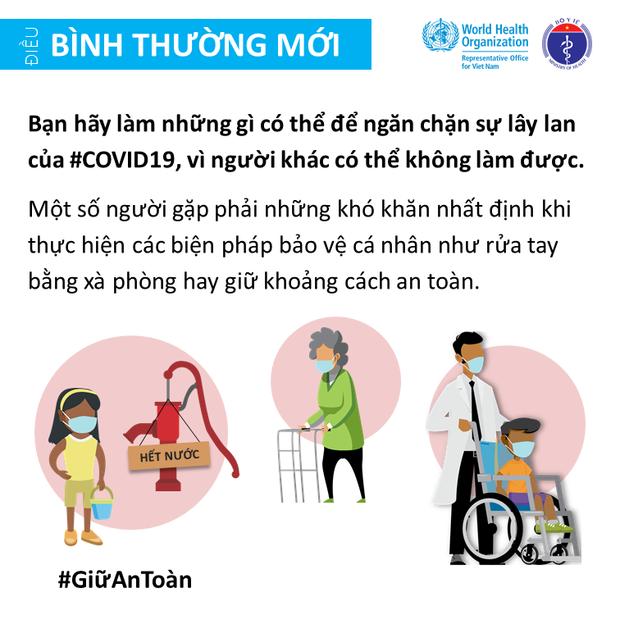 Bộ Y tế và Văn phòng WHO tại Việt Nam nhấn mạnh một vài điểm cần lưu ý để giảm thiểu nguy cơ lây nhiễm COVID-19 cho mỗi người - Ảnh 4.