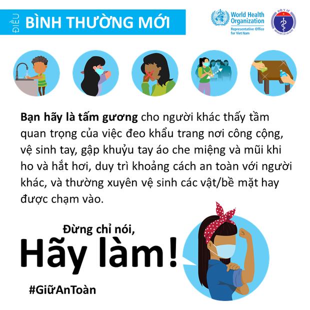 Bộ Y tế và Văn phòng WHO tại Việt Nam nhấn mạnh một vài điểm cần lưu ý để giảm thiểu nguy cơ lây nhiễm COVID-19 cho mỗi người - Ảnh 5.