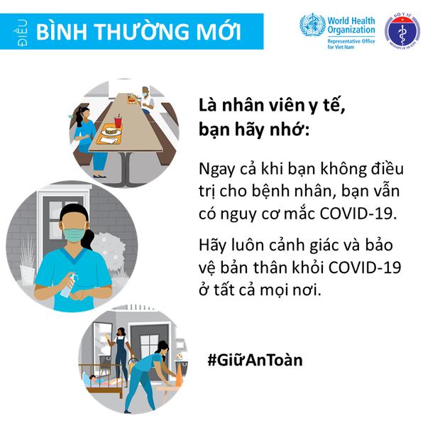 Bộ Y tế và Văn phòng WHO tại Việt Nam nhấn mạnh một vài điểm cần lưu ý để giảm thiểu nguy cơ lây nhiễm COVID-19 cho mỗi người - Ảnh 6.