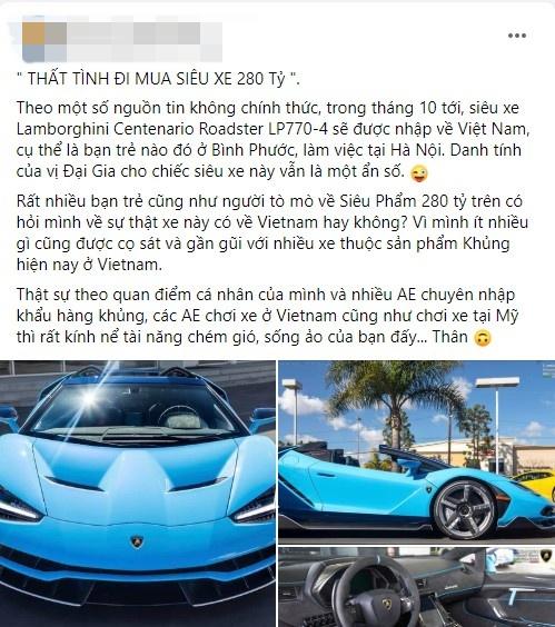 Rộ tin đồn vụ đại gia Việt mua siêu xe Lamborghini Centenario vì thất tình chỉ là giả: Chủ nhân bốc phét để sống ảo trên mạng? - Ảnh 2.