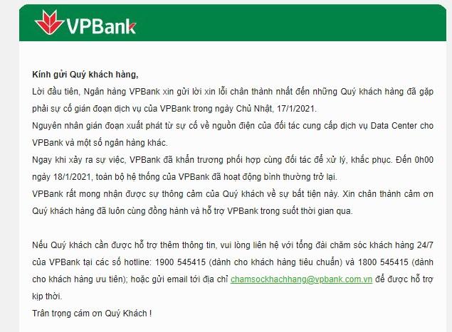 Thêm VPBank thông báo đã khắc phục xong sự cố gián đoạn dịch vụ - Ảnh 1.