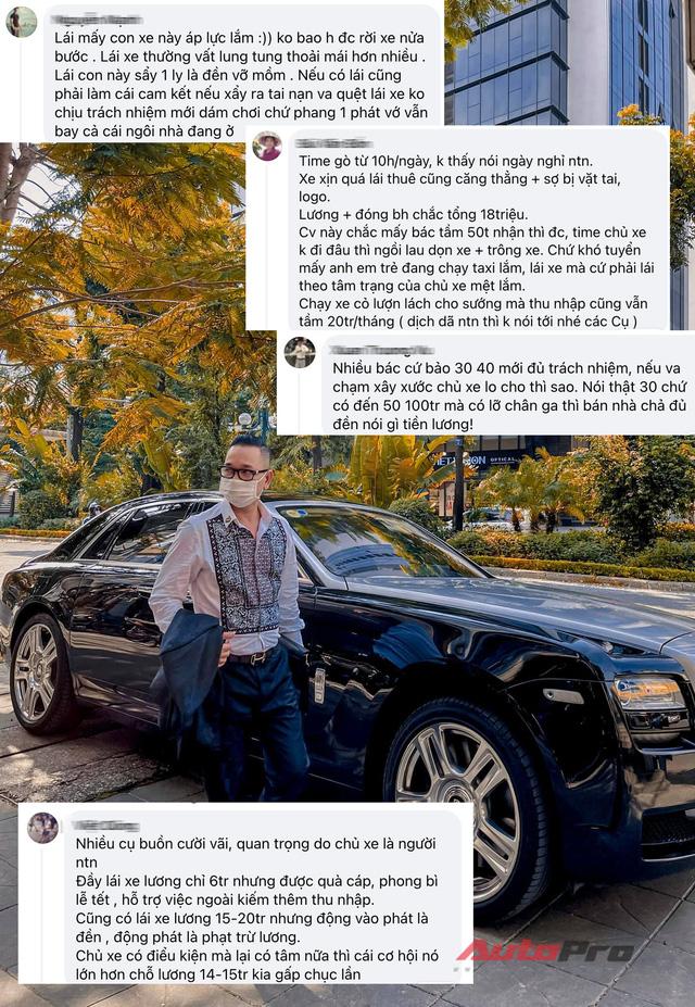 Đại gia veston tuyển tài xế Rolls-Royce lương 14 triệu, hộ khẩu Hà Nội, làm 10 tiếng/ngày, CĐM thốt lên: 'Quá áp lực, có sao bán nhà không đền nổi'  - Ảnh 3.