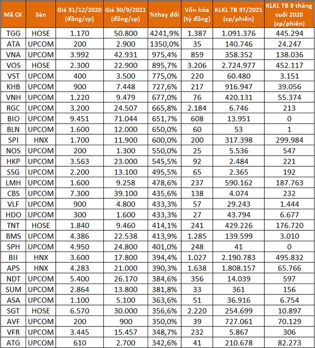 Điểm mặt các cổ phiếu tăng bằng lần sau 9 tháng, có mã lên gấp 43 lần - Ảnh 2.