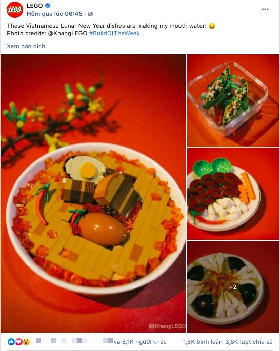 Fanpage nước ngoài đình đám chia sẻ mâm cỗ Tết làm 100% từ mô hình Lego, dân mạng nhận xét: Tự hào quá Việt Nam ơi! - Ảnh 1.