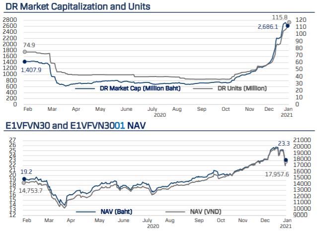 Nhà đầu tư Thái Lan mua ròng gần 1.000 tỷ đồng chứng chỉ quỹ VFMVN30 ETF trong tháng đầu năm 2021 - Ảnh 1.
