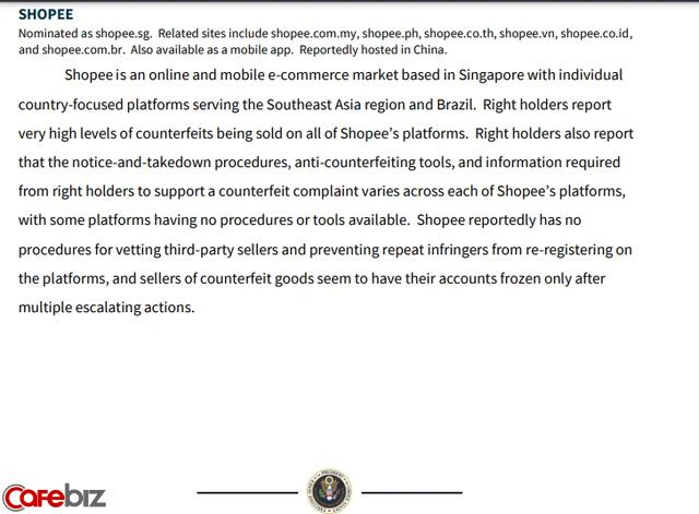 """Shopee bị phía Mỹ cáo buộc bán hàng giả với """"mức độ rất cao"""", không điều tra bên bán hàng và vi phạm bản quyền toàn cầu - Ảnh 1."""