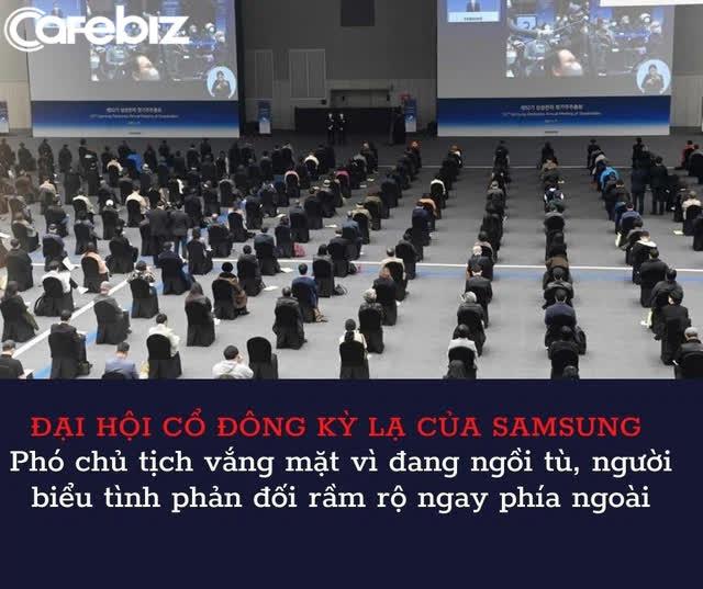 Đại hội cổ đông kỳ lạ của Samsung: Số người tham dự giảm 1 nửa, Phó chủ tịch vắng mặt vì đang ngồi tù, người biểu tình phản đối rầm rộ ngay phía ngoài - Ảnh 1.