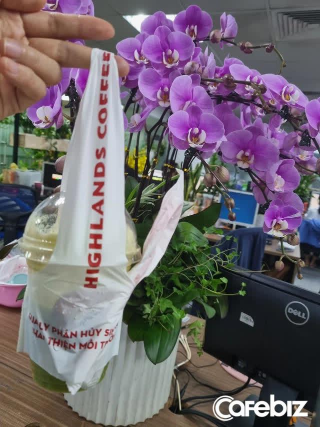 Bảo vệ môi trường theo cách Highlands Coffee: Dùng quai xách tự hủy sinh học, nhưng giữ nguyên combo cốc, ống hút và thìa làm bằng loại nhựa siêu bền - Ảnh 1.