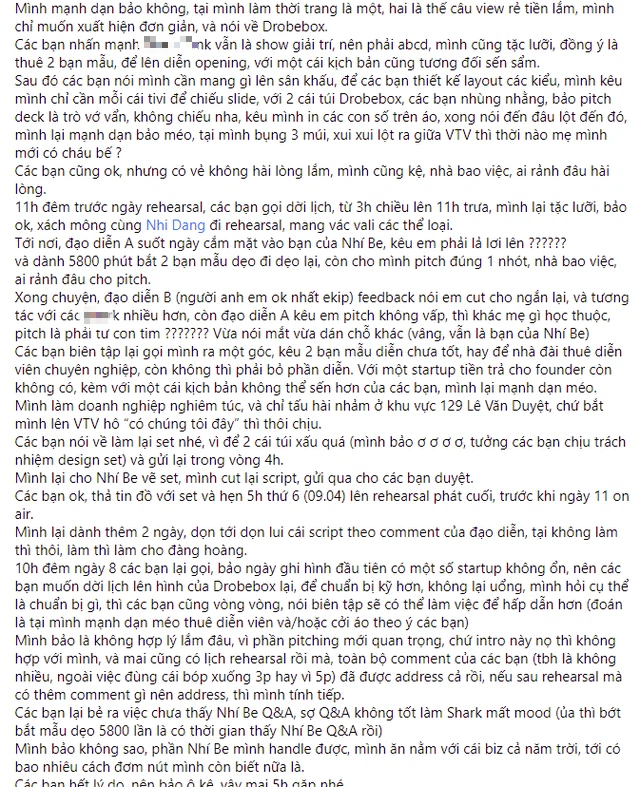 """Show nổi tiếng về khởi nghiệp bị """"tố"""" thiếu tôn trọng startup: Yêu cầu founder diễn lột áo để câu view, lịch quay hẹn tới hẹn lui nhưng đến phút 89 """"lật kèo"""" vì """"cần tính giải trí"""" - Ảnh 2."""