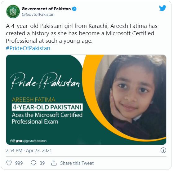 Mới 4 tuổi, cô bé người Pakistan đã phá kỷ lục thế giới khi giành được chứng nhận chuyên gia của Microsoft - Ảnh 1.