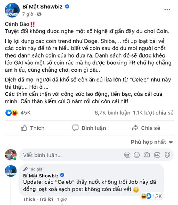 Sau một đêm PR lộ liễu cho tiền ảo, bài viết của Ngọc Trinh, Nam Thư, Kiều Minh Tuấn... trên Facebook đồng loạt bốc hơi? - Ảnh 4.