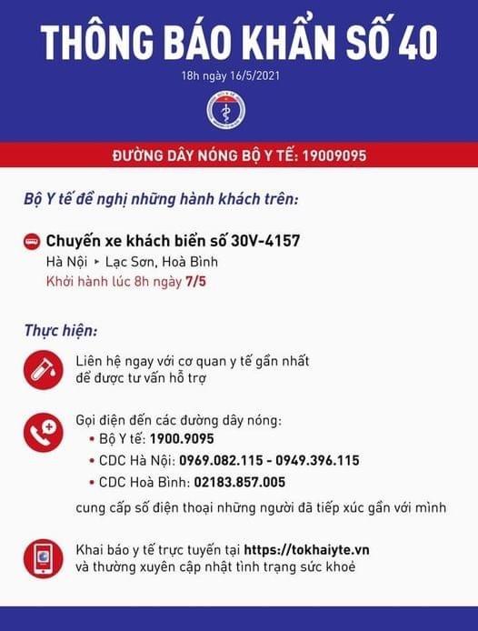 Bộ Y tế khẩn tìm người đi xe khách từ Hà Nội - Lạc Sơn, Hòa Bình ngày 7/5 - Ảnh 1.