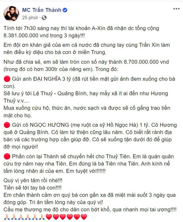 Đại diện Thuỷ Tiên nói gì về nghi vấn số tiền 4,7 tỷ đồng Trấn Thành chuyển khoản?  - Ảnh 1.