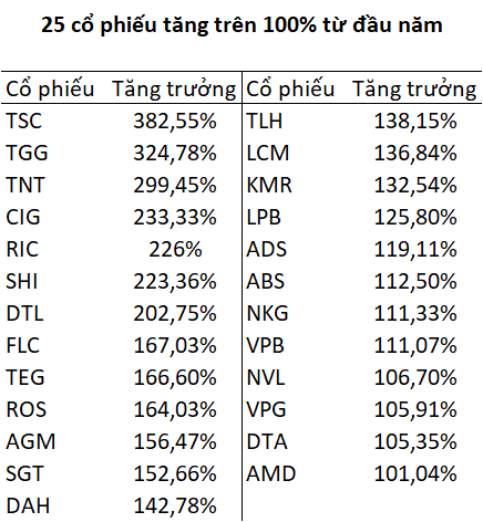 Hàng chục cổ phiếu tăng bằng lần từ đầu năm 2021 - Ảnh 1.
