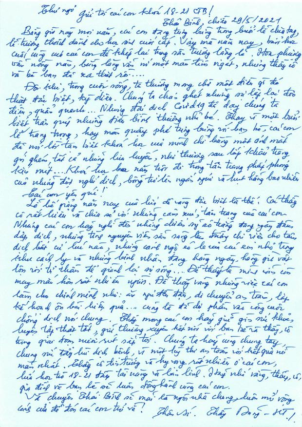 Thương học trò 12 không có lễ trưởng thành, thầy hiệu trưởng viết thư tay đọc cạn nước mắt: Các con dự phần vào công cuộc chống dịch - Ảnh 1.