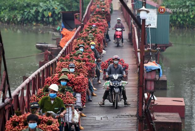 Bắc Giang: Kiếm tiền triệu từ việc đẩy xe chở vải lên dốc cầu phao trong mùa thu hoạch - Ảnh 8.