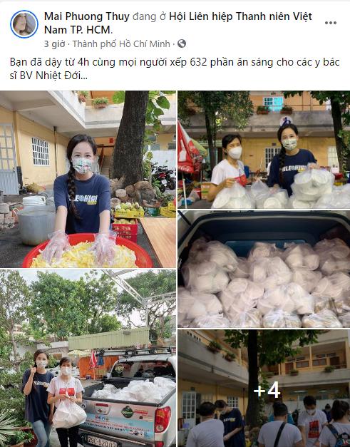 Hoa hậu chứng khoán Mai Phương Thúy đăng ký tình nguyện viên chống dịch, dậy từ 4 giờ sáng chuẩn bị phần ăn sáng cho các bác sĩ tuyến đầu - Ảnh 1.