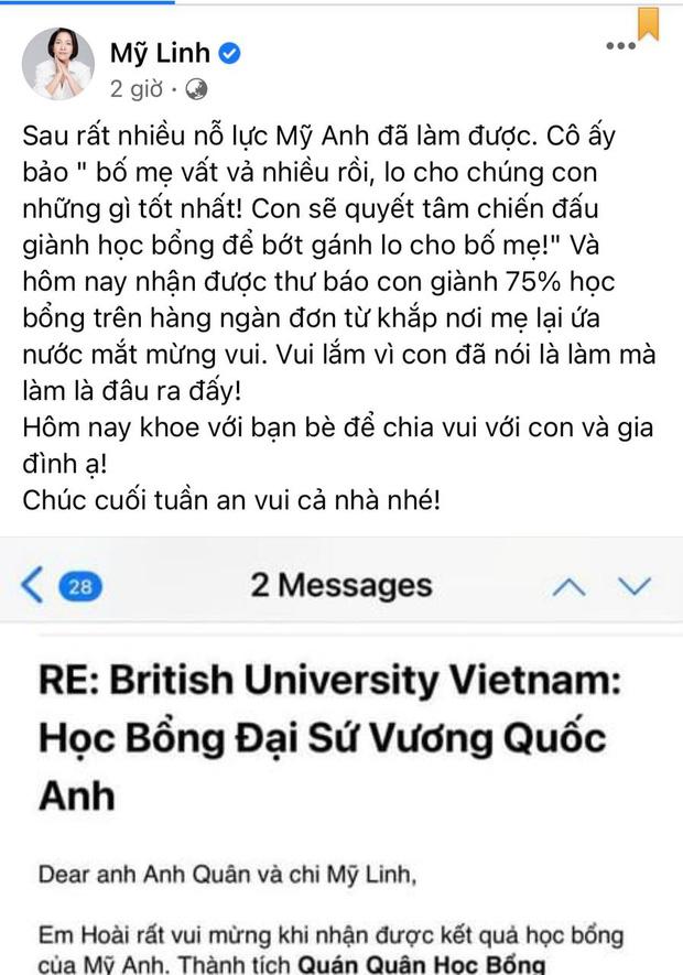 Cô út nhà diva Mỹ Linh giành vị trí Quán quân học bổng tại Đại học Anh Quốc, gây ấn tượng bởi lời nhắn gửi đến mẹ - Ảnh 1.