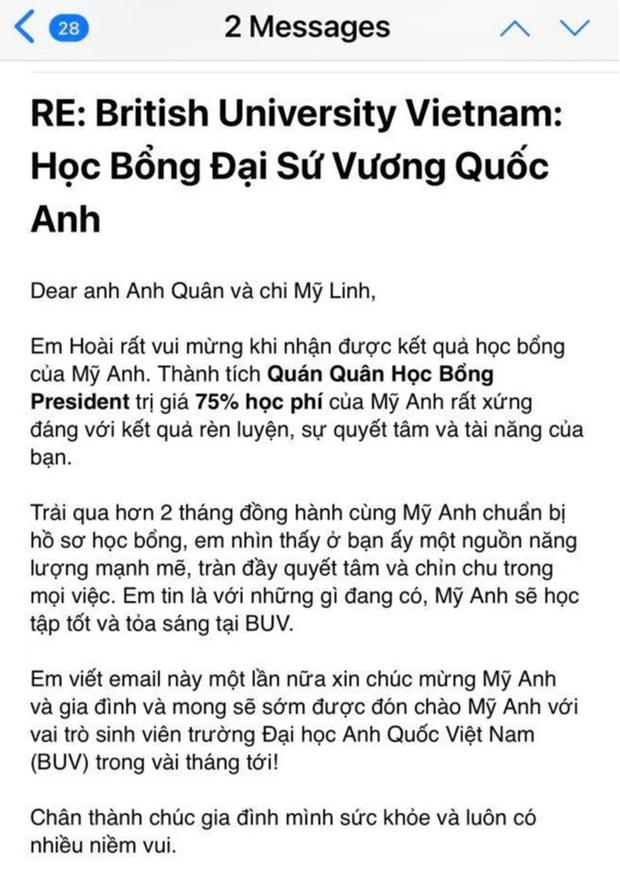 Cô út nhà diva Mỹ Linh giành vị trí Quán quân học bổng tại Đại học Anh Quốc, gây ấn tượng bởi lời nhắn gửi đến mẹ - Ảnh 2.