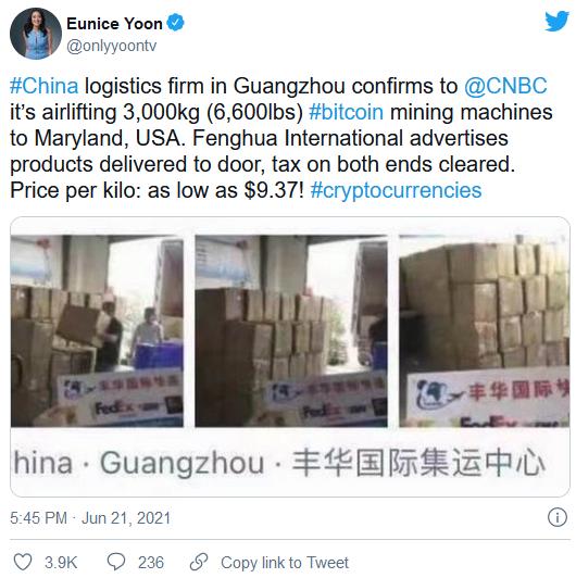 3 tấn máy đào bitcoin đã được chuyển bằng máy bay từ Trung Quốc sang Mỹ, nhưng vẫn còn 80.000 tấn máy móc đang nằm chờ - Ảnh 1.