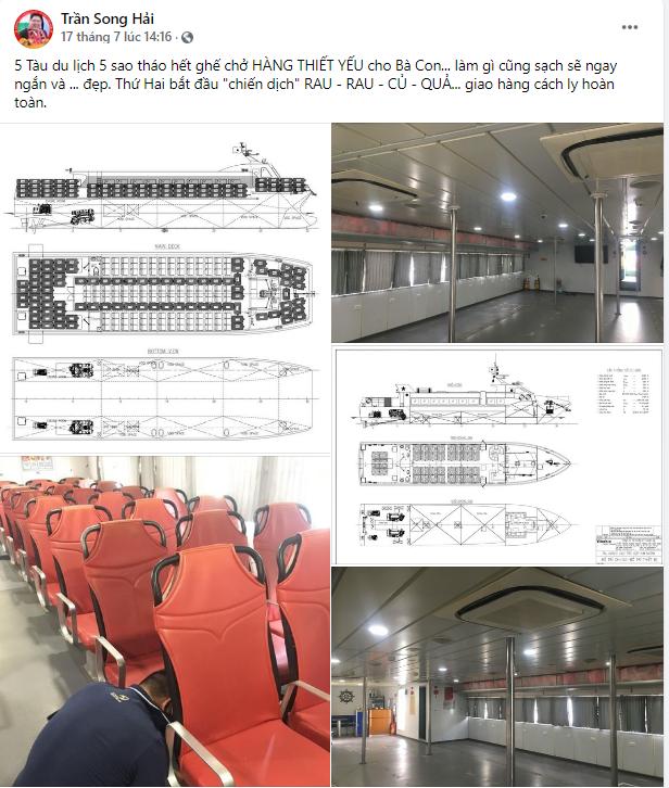 Tàu cao tốc 5 sao tháo hết ghế hành khách để chở thực phẩm, rau xanh cho TP HCM: Bình tâm nhé, dịch sẽ sớm qua thôi! - Ảnh 1.