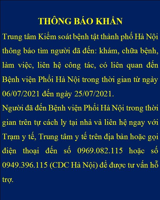 Khẩn tìm người đến Bệnh viện Phổi Hà Nội từ ngày 6/7 đến 25/7 - Ảnh 1.