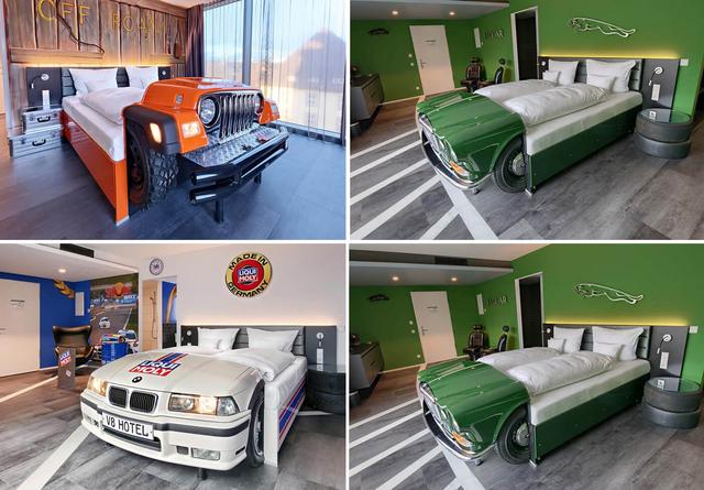 Khám phá V8 Hotel: Ngủ trên giường Mercedes-Benz, BMW, xung quanh toàn đồ cho hội cuồng xe - Ảnh 4.