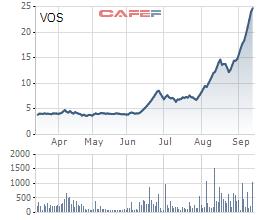 Cổ phiếu VOS bất ngờ giảm sâu sau 14 phiên tăng liên tiếp - Ảnh 1.