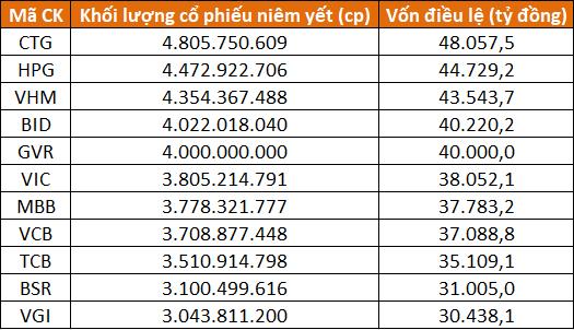 Thị trường chứng khoán Việt có 5 doanh nghiệp vốn điều lệ trên 40.000 tỷ đồng - Ảnh 1.
