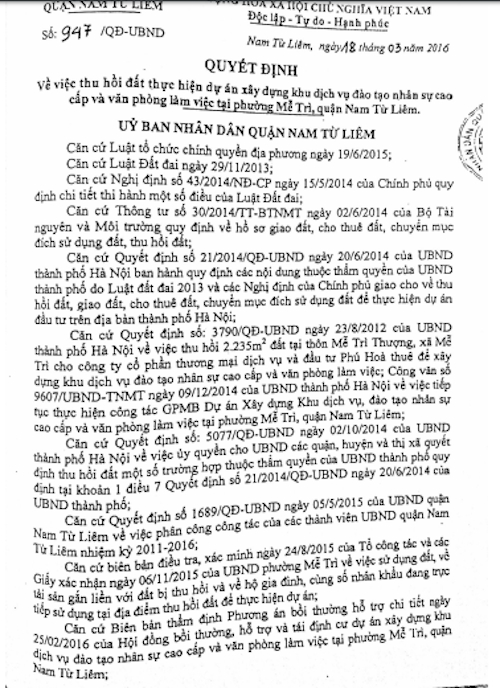 Quyết định số 947/QĐ-UBND về việc thu hồi đất không xem xét phê duyệt các khoản bồi thường về đất và không hỗ trợ chuyển đổi nghề nghiệp và tạo việc làm đối với gia đình ông Hường.