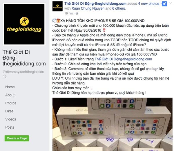Tin rao iPhone 5/5S giá 100.000 đồng của trang giả Thế Giới Di Động - Ảnh chụp màn hình