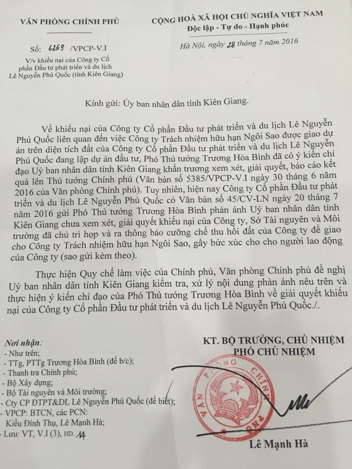 Trước đó, Ngày 27/5/2016, Thanh tra Bộ Xây dựng đã gửi công văn đề nghị UBND tỉnh Kiên Giang ngừng thi hành Quyết định cưỡng chế số 924/QĐ – CC ngày 22/4/2016 của UBND tỉnh Kiên Giang.