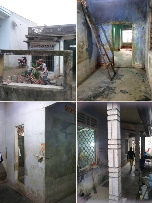 Hình ảnh căn nhà cũ đã lỗi thời đang trong tình trạng xuống cấp nghiêm trọng. Toàn bộ tường nhà bị ẩm mốc, nền nhà mục nát.
