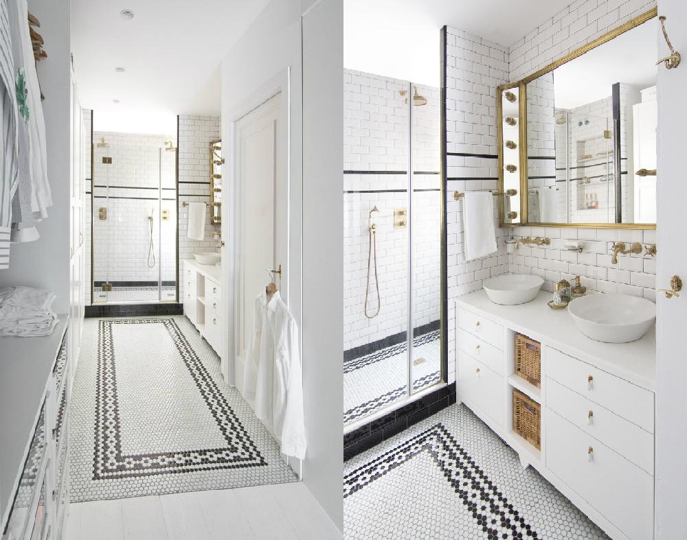 Phòng tắm với nội thất trắng và gạch penny trang trí đẹp đến khó tin.