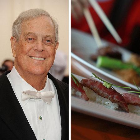 Đứng thứ 6 trong danh sách tỷ phú Mỹ là David Kock với khối tài sản 41 tỷ USD. Với khối tài sản của mình, Kock có thể mua đủ lượng sushi và thịt bò Kobe, món ăn yêu thích của ông, để phủ kín diện tích lớn gấp 2 lần khu vực đô thị của New York.