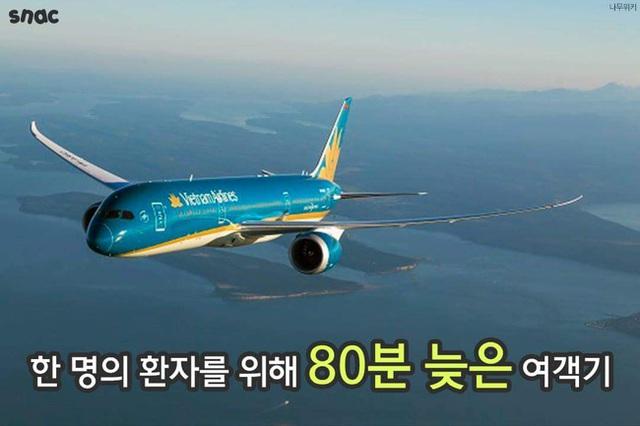 Máy bay của hãng hàng không Vietnam Airlines đã cất cánh chậm 80 phút để giúp đỡ một bệnh nhân người Hàn