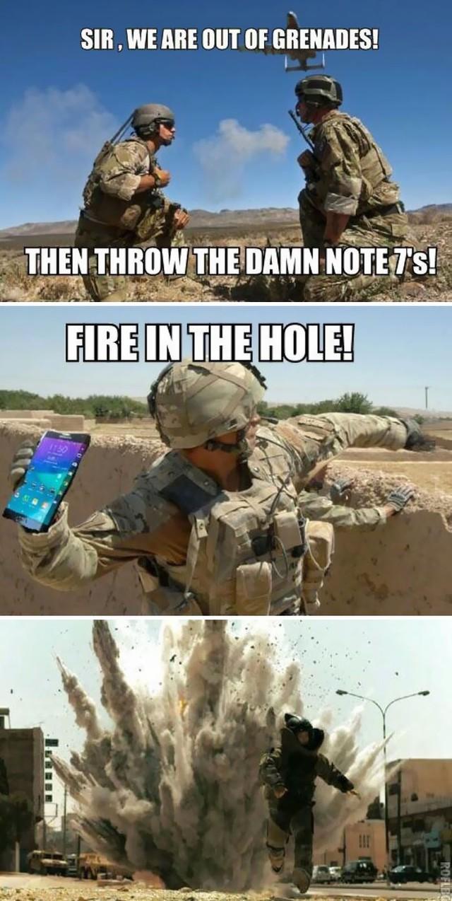 Với tính năng phát nổ, Note 7 được yêu thích trong các cuộc chiến.