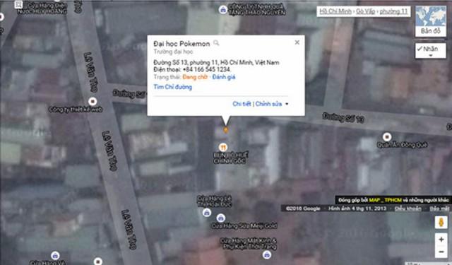 """Người dùng thêm cả địa danh có tên """"tào lao"""" là Đại học Pokemon vào bản đồ - Ảnh: Google Map Maker Việt Nam"""
