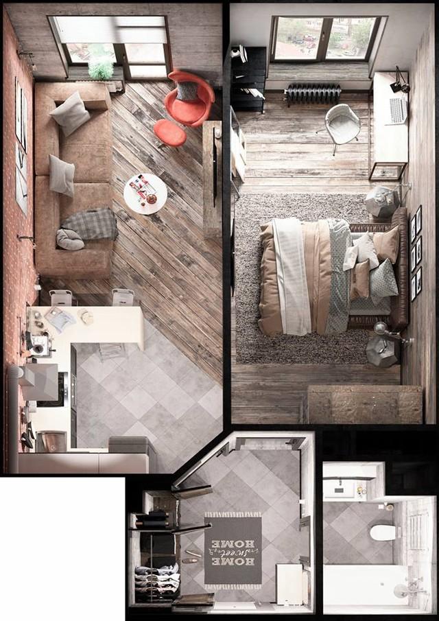 Toàn cảnh bố trí các khu vực chức năng thoáng rộng mà vô cùng tiện nghi cho căn hộ chỉ hơn 30m2. Việc chia đôi căn hộ là biện pháp vô cùng thông minh khiến tất cả mọi không gian trong nhà đều có thể đón nhận được ánh sáng tự nhiên.