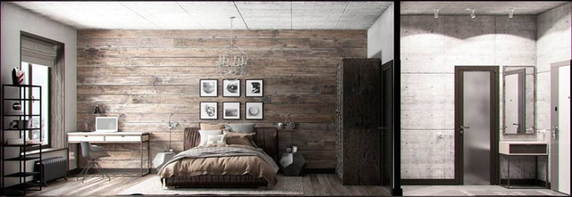 Nửa bên kia của ngôi nhà là phòng ngủ và góc làm việc tràn ngập ánh sáng tự nhiên. Thay vì để gạch trần sáng màu như phòng khách thì bức tường phòng ngủ lại được chủ nhà ốp gỗ cùng tông màu sàn nhà tạo cảm giác nhẹ nhàng cho chốn nghỉ ngơi.
