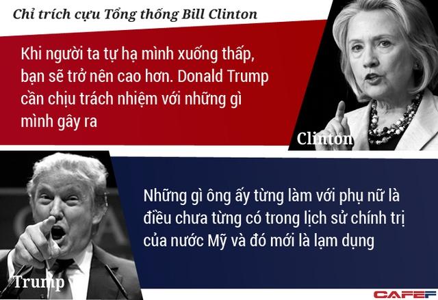 Thậm chí, vị tỷ phú New York còn công kích cả cựu tổng thống Bill Clinton, người tới dự phiên tranh luận trên cương vị khách mời. Ông Bill là phu quân của bà Hillary.